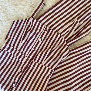 Striped Button up Wide Leg Jumpsuit